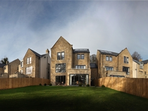 Panoramic rear view of homes at Forge View, Sheffield